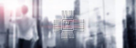 Sztucznej inteligencji przysz?o?ci technologia Zamazany abstrakcjonistyczny b??kitny t?o ludzie sylwetek fotografia stock