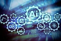 Sztucznej inteligencji techniki technologii biznesowy poj?cie Futurystyczny serweru pokoju t?o ai royalty ilustracja