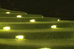 Sztucznej trawy schodowa dekoracja z oświetleniem obraz stock