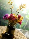 Sztuczni kwiaty w butelce obraz royalty free