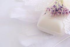 sztuczni piórka kwitną koronki mydło Fotografia Stock