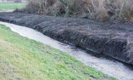 Sztucznie kształtujący teren kanał dla irygować pola w rolnictwie obraz stock