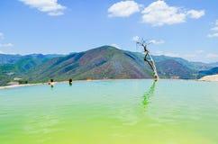 Sztuczny basenu Hierve el Agua, Oaxaca, Meksyk 19th 2015 Maj fotografia stock