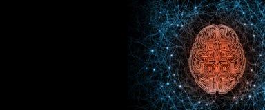 Sztuczny cybernetyczny obwodu mózg wśrodku ludzkiego nerwu systemu odgórnego widoku ilustracji