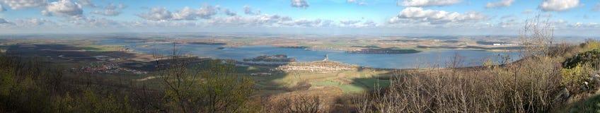 Sztuczny jezioro Nove Mlyny w Południowym Moravia Obrazy Stock