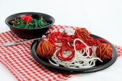 Sztuczny Karmowy spaghetti gość restauracji Tworzący Z przędzą Obrazy Stock