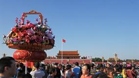 Sztuczny kosz kwiat dekoracja w plac tiananmen, Pekin zbiory