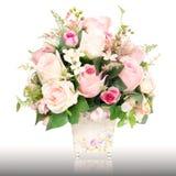 Sztuczny różany kwiatu garnek Zdjęcie Royalty Free