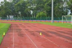 Sztuczny zawody atletyczni z zieloną trawą łączył z sztuczną trawą fotografia stock