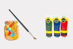 Sztuk dostawy dla szkolnej uczeń farby tubki Fotografia Stock