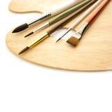 Sztuk muśnięcia z drewnianą paletą odizolowywającą Obraz Royalty Free