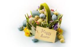 Sztuk Wielkanocni jajka koszykowi na drewnianym tle Obrazy Stock