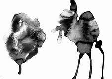 Sztuka akwarela Czarny punkt na akwarela papierze odosobniony Abstrakcjonistyczny szarość punkt na białym tle atrament kropla gre zdjęcie royalty free