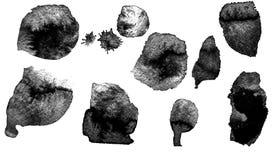 Sztuka akwarela Czarny punkt na akwarela papierze odosobniony Abstrakcjonistyczny szarość punkt na białym tle atrament kropla gre fotografia stock