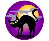 sztuka czarnego kota, clip Halloween. Fotografia Stock