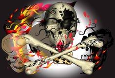 Sztuka i czaszka zmrok Obrazy Stock
