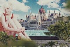 Sztuka kolaż z piękną kobietą zdjęcia stock