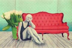 Sztuka kolaż z piękną kobietą, retro styl obrazy royalty free