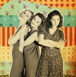 sztuka kolaż trzy kobiety Obrazy Royalty Free