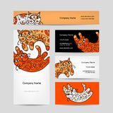 Sztuka koty z kwiecistym ornamentem wizytówka logo firmy wektor ilustracyjny stylu Obraz Stock
