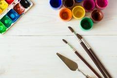Sztuka obraz Malować set: muśnięcia, farby, akwarela, acry Fotografia Royalty Free