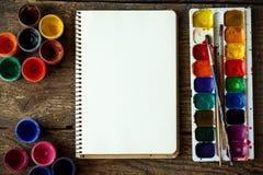 Sztuka obraz Malować set: muśnięcia, farby, akwarela, acry Obrazy Royalty Free