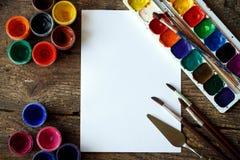 Sztuka obraz Malować set: muśnięcia, farby, akwarela, acry Zdjęcia Stock