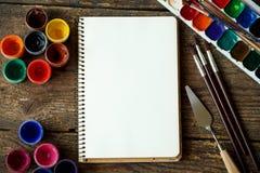Sztuka obraz Malować set: muśnięcia, farby, akwarela, acry Obrazy Stock