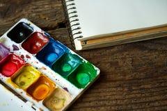 Sztuka obraz Malować set: muśnięcia, farby, akwarela, acry Obraz Stock