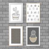 Sztuka obraz z kaktusem w ramie abstrakta schematu Wektorowy ilustracyjny pojęcie Fotografia Stock