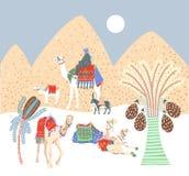 Sztuka obrazka projekt góry piasek w egipcjanin pustyni ilustracja wektor