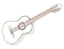 Sztuka odizolowywająca na bielu gitara akustyczna Ciemnego brązu linie wektor Zdjęcie Royalty Free