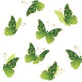 sztuka ornament motyli kwiecisty latający złoty zielony Zdjęcie Stock