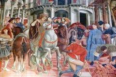 Sztuka przy antycznym szpitalem Santa Maria della Scala, Siena, Włochy fotografia royalty free