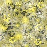 Sztuka rocznik stylizujący kwitnie barwionego bezszwowego wzór, grunge półdupki royalty ilustracja