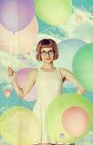 Sztuka rocznika kolaż z piękną kobietą fotografia stock