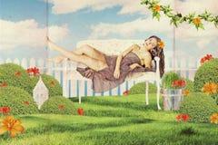 Sztuka rocznika kolaż z piękną kobietą obraz royalty free