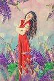Sztuka rocznika kolaż z piękną kobietą ilustracja wektor