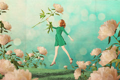 Sztuka rocznika kolaż z piękną kobietą ilustracji