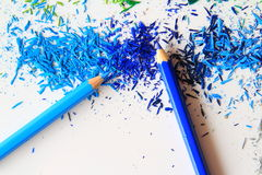 Sztuka rozmaitość koloru ołówki i koloru grafitowy pył Zdjęcie Stock