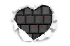 Sztuka sztandaru projekt w kształcie serce w białym papierze z słowami Ja Obraz Stock