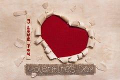 Sztuka sztandaru projekt w kształcie serce w starym papierze z słowami Ja Lo Fotografia Stock