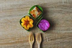 Sztuka Tajlandzcy desery był przechodzącym puszkiem przez pokoleń Tajlandzki sweets, i distinc unikalnego, kolorowego, Zdjęcia Royalty Free