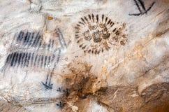 Sztuka w Yourambulla jamy Flinders Rozciąga się Australia obrazy stock
