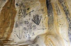 Sztuka w Yourambulla jamy Flinders Rozciąga się Australia obrazy royalty free