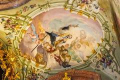 Sztuka wnętrza StNicholas kościół w Praga Obrazy Royalty Free