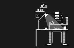 Sztuka Współczesna Mustachio Obsługuje studiowanie W Jego Swój G Obrazy Stock
