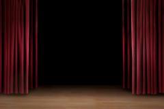 Sztuka występu scena z czerwoną zasłoną royalty ilustracja
