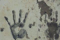 Sztuka z rękami w farbie na ściana betonie ilustracji
