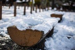 Sztukateryjna ławka zakrywająca śniegiem Fotografia Royalty Free